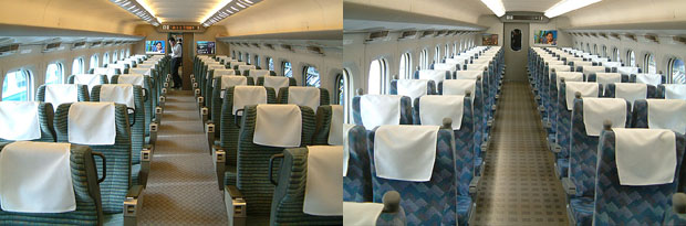 Tokaido/Sanyo Shinkansen 700 series. These seat configuration are the standard on Shinkansen. Green (left) and Ordinary (right
