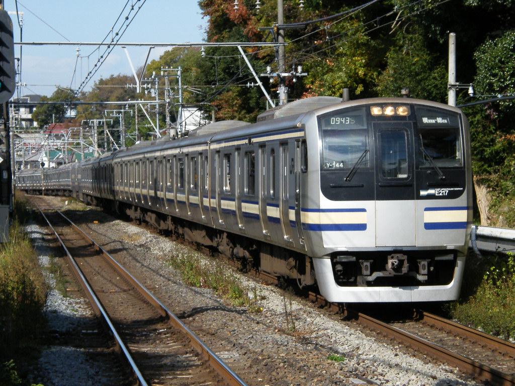 Ivory and blue are Yokosuka-Sobu train's color.