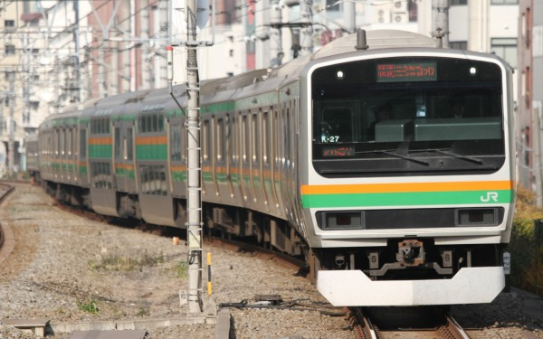 Rapid trains on Shonan-Shinjuku line have green and orange colors.