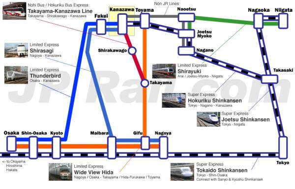 Kanazawa and Toyama access map (Click to enlarge)