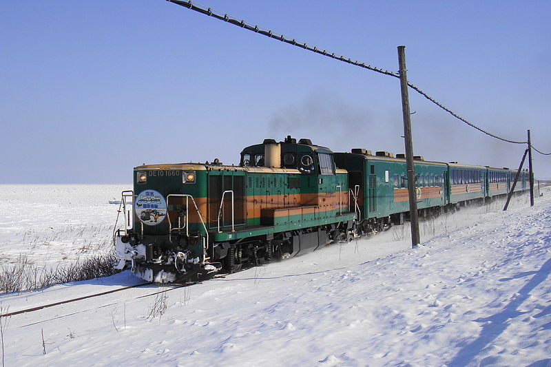 Ryuhyo Norokko train is operated during very popular Drift Ice season in Hokkaido.
