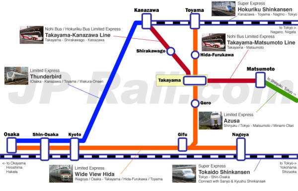 Takayama access map. Click to enlarge. (C) JP Rail