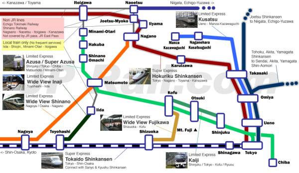 This map shows you all trains to Shinshu area. Click to enlarge. (C) JP Rail.com