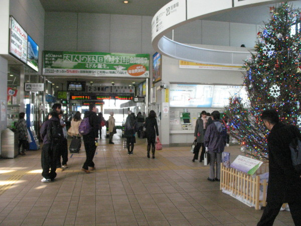 Hirosaki station has only one ticket gate. It was February. But there was Christmas tree! (C) JP Rail