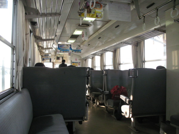 Interior of Akita Nariku train. It is very common interior of country side diesel car. (C) JP Rail