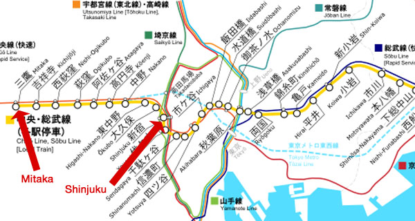 Route of Chuo-Sobu Line Local train (C) RailRider