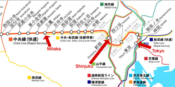 Route of Chuo Line Rapid train (C) RailRider
