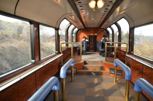 At Car #4, public observation car. Any passengers can access this space.