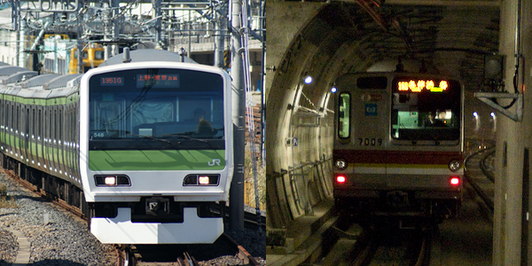 JR's Yamanote line (left) and Tokyo Metro (right)