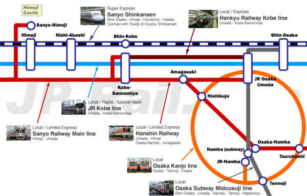 Access map for trip to Himeji (Click to enlarge)