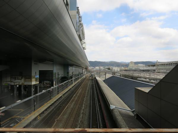 Overview of Kyoto station's platforms. Left side is platform #0 and station building at Karasuma central exit. (C) JP Rail