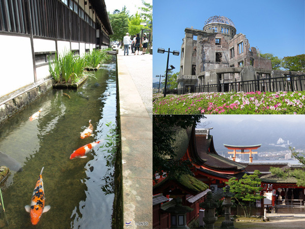 Tsuwano (left), Atomic Bomb Dome (upper right) and Miyajima (lower right) are popular place to visit in the coverage area. ©Shimane Prefectural Goverment/©JNTO (Tsuwano/left) /   	©Hiroshima Convention & Visitors Bureau (Atomic bomb towere/upper right) / ©Yasufumi Nishi/©JNTO (Miyajima/lower right)