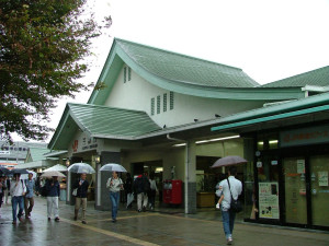 Mishima station south exit. The bus to Lake Kawaguchi departs from this exit side.