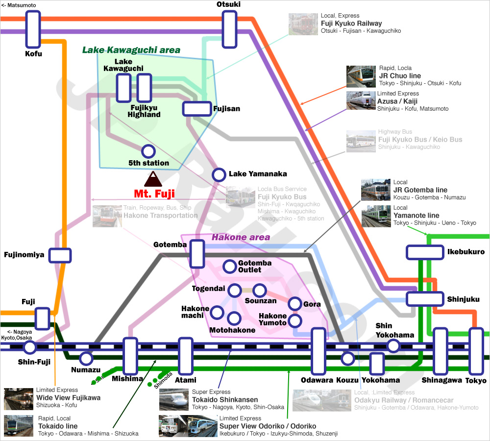 Fuji Hakone Access Guide By Train And Bus From Both Tokyo And - Japan jr map osaka