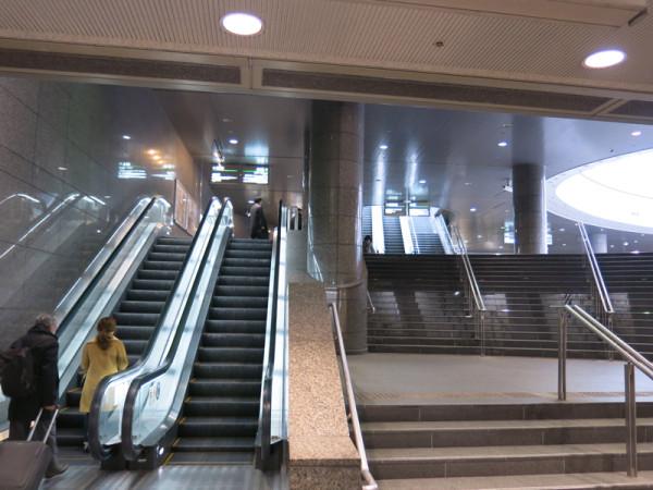 Escalators and stairs to JR Namba station.