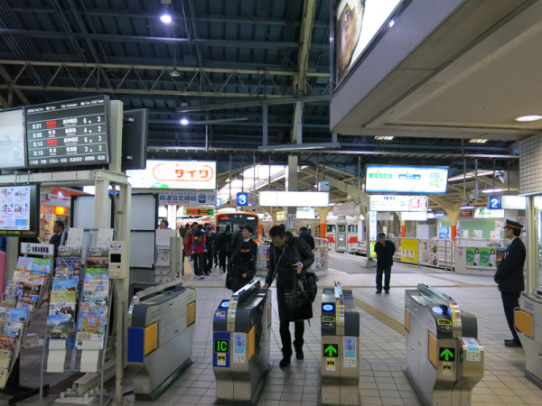 Ticket gate and platform of Sanyo-Himeji station
