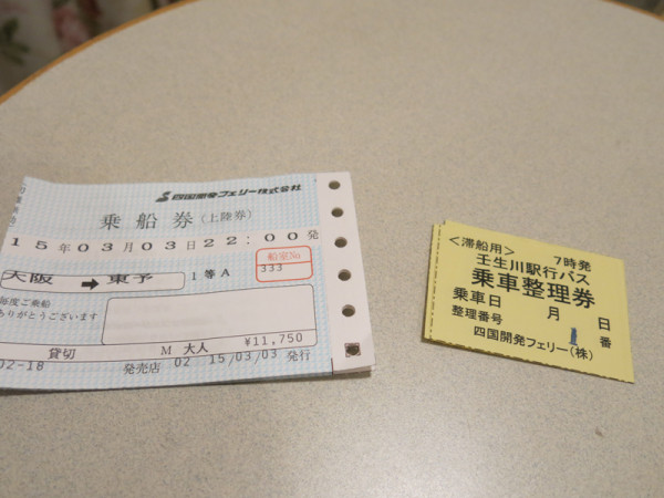 Ferry ticket and bus ticket