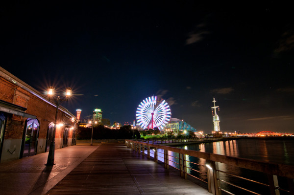 Night view of Kobe Harborland and Meriken Park