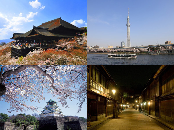 Tokyo, Kanazawa, Kyoto and Osaka are covered by this deal. (C) ©Sue Ann Simon (upper left), Osaka Government Tourism Bureau (lower left), Yasufumi Nish (upper right), Kanazawa City (lower right) and JNTO (all photos)