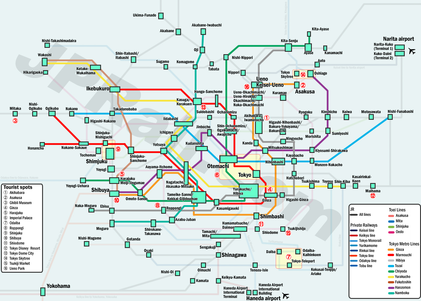 Guide to take trains in tokyo how to choose the best deal and the click map to view larger sciox Image collections