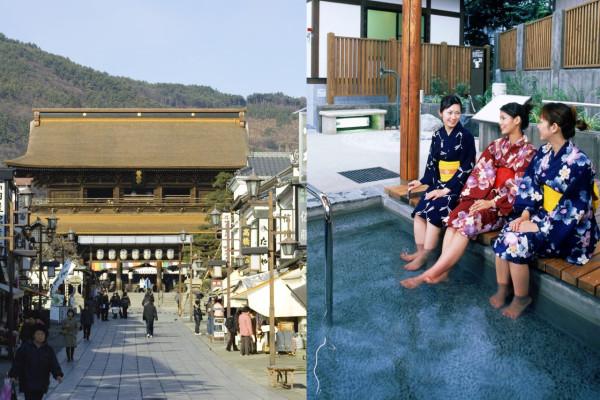 Zenko-ji temple in Nagano (left) and Yuzawa Onsen in Niigata (right)  (C) Nagano Prefecture / JNTO