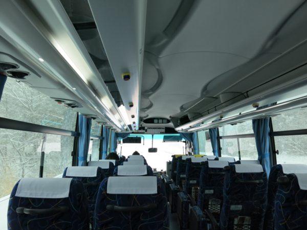 Interior of limousine bus to Akita station