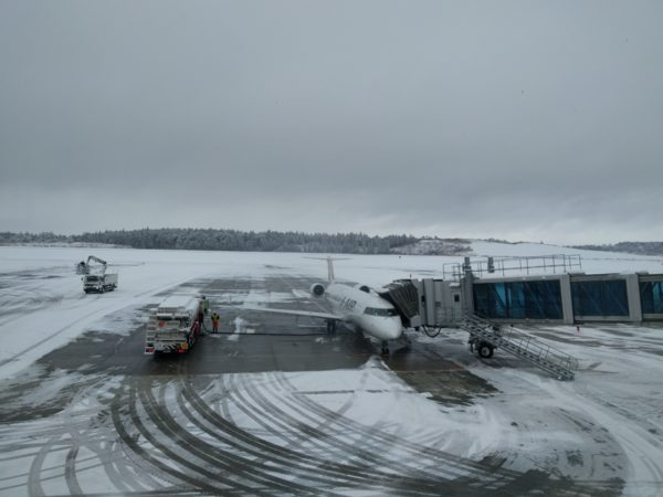 Flight just arrived at Akita airport. It was snowy day.