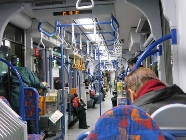 Interior of Hiroden tram