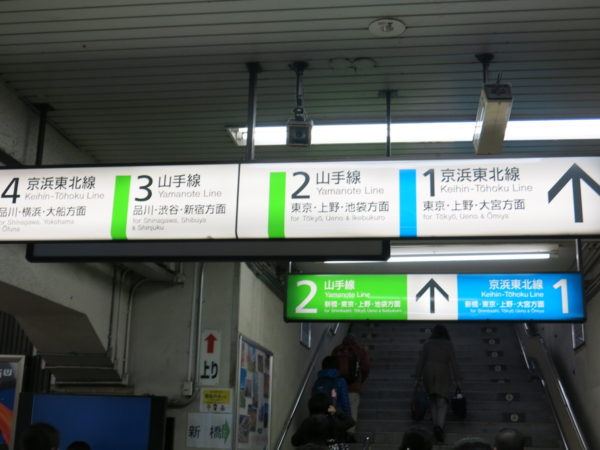 Signage of tracks and platforms of JR lines